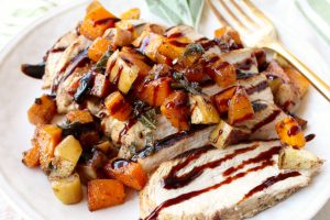 Butternut Squash Apple Bruschetta tops balsamic grilled chicken in this delicious grilled bruschetta chicken recipe, made in only 29 minutes!