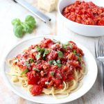 Roasted red peppers add a delicious flavor to this healthy Turkey Bolognese recipe, serve over spaghetti or with zucchini noodles for a gluten free meal.