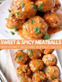 Meatballs covered in buffalo sauce stacked up on plate