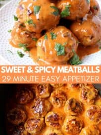 Meatballs covered in buffalo sauce stacked up on plate and in large pot