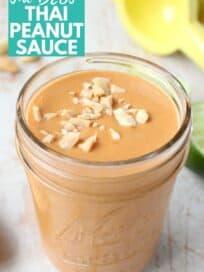 Thai peanut sauce in mason jar