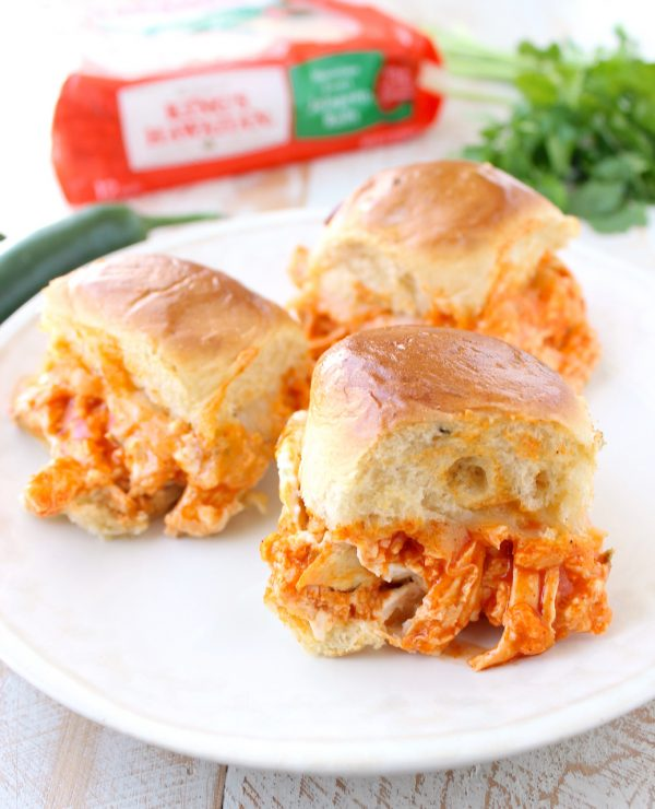 Turn delicious Buffalo Chicken Dip into tasty sliders with a kick in this recipe for Jalapeño Buffalo Chicken Dip Sliders!