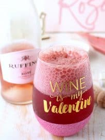 Raspberry sorbet topped with bubbly rosé makes for a deliciously sweet and beautiful pink cocktail, perfect for happy hour, cocktail hour or dessert!