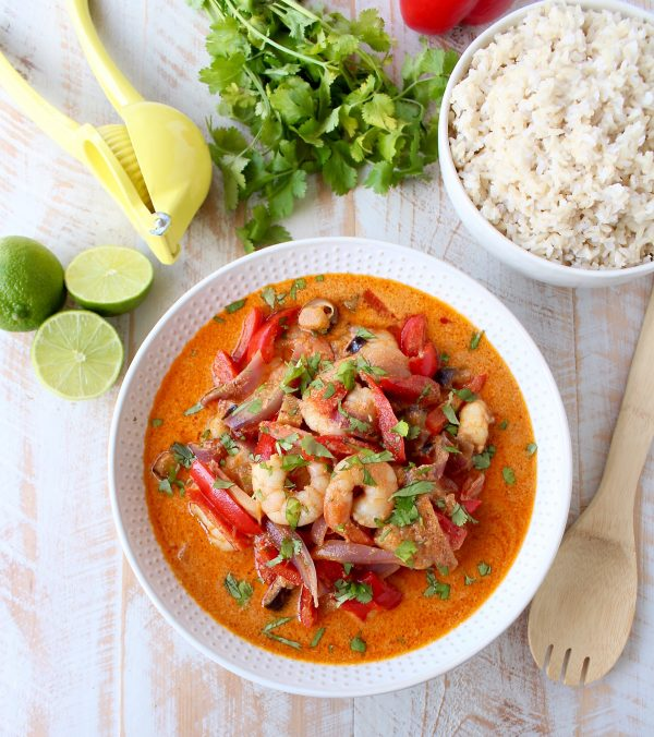 Shrimp & vegetables are cooked into a simple, delicious red curry sauce in this Red Curry Shrimp recipe, made in only 20 minutes for an easy weeknight meal!
