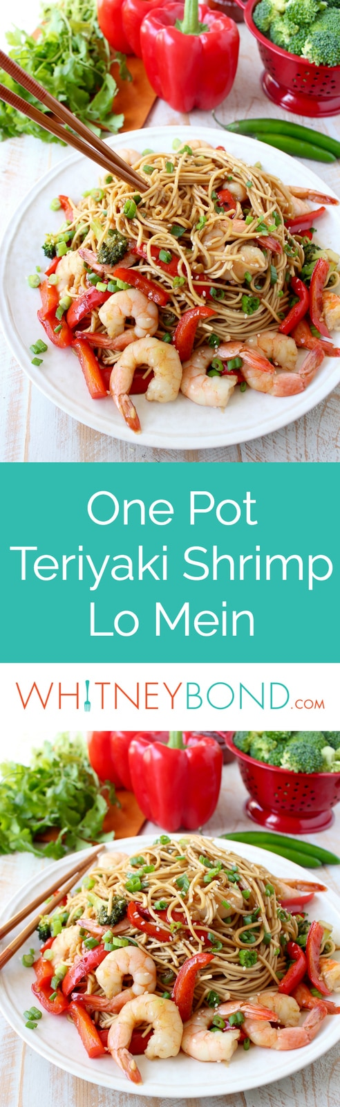 Teriyaki shrimp, fresh veggies and lo mein noodles are combined in this easy one pot recipe, made in under 30 minutes, perfect for weeknight dinners!