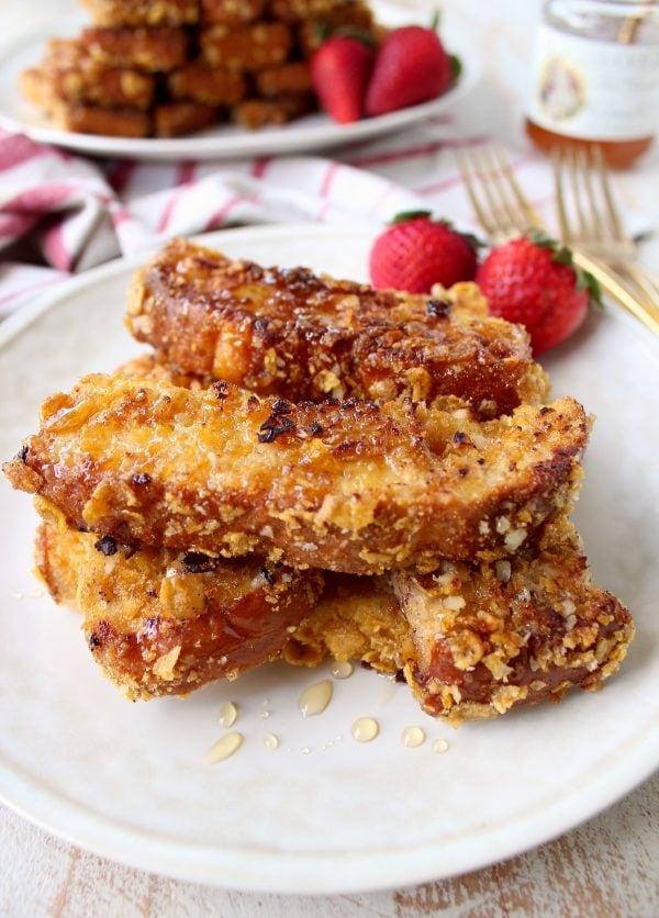 Macadamia Nut Crispy French Toast Sticks are a fun & delicious breakfast recipe, that's also so easy to make!
