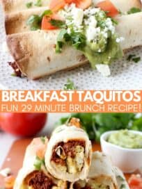 breakfast taquitos stacked on top of each other on cutting board and on a plate topped with guacamole