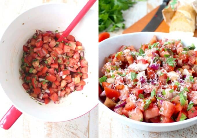 collage of images showing how to make tomato basil bruschetta