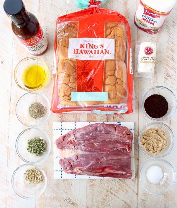 Steak Sandwich with Coffee Rub, Grilled Onions & BBQ Sauce