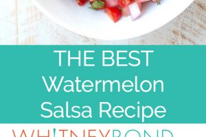 The best watermelon salsa recipe, image of salsa in bowl with text overlay