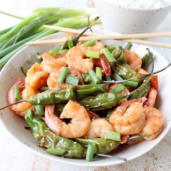 In only 15 minutes, with just 8 ingredients, you can make this super simple and delicious Shrimp Stir Fry recipe with Shishito Peppers!