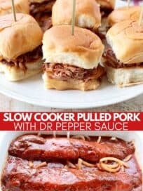 pulled pork sliders on plate and pork in crock pot