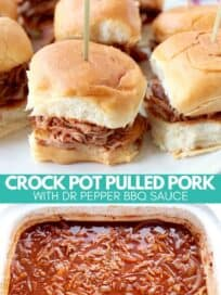 pulled pork sliders on plate and shredded pork in crock pot