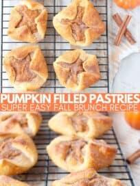 pumpkin pastries on wire baking rack
