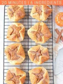 overhead image of pumpkin pastries on wire baking rack