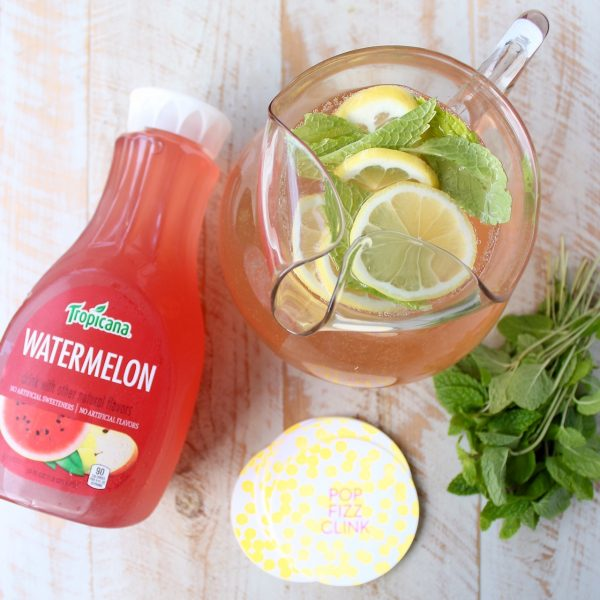 Watermelon and mint add delicious and refreshing flavor to this easy champagne punch recipe, perfect for celebrating birthdays, holidays or Fridays!