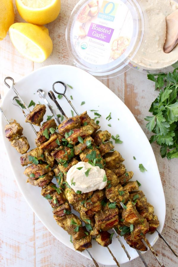 Fresh spinach, spices, lemon and olive oil are combined in an amazing marinade for these grilled Mediterranean Chicken Skewers!