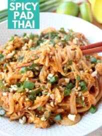 pad thai noodles in bowl with chopsticks