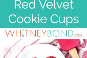 Red velvet cookie cups with cream cheese filling on wire rack and white plate