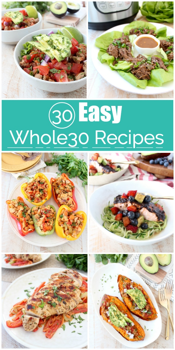 Check out these 30 easy Whole30 recipes that will make it simple to create healthy Whole30 meals, that also taste delicious! Plus, use the handy Whole30 shopping guide to grab everything you need to make these tasty recipes at home!