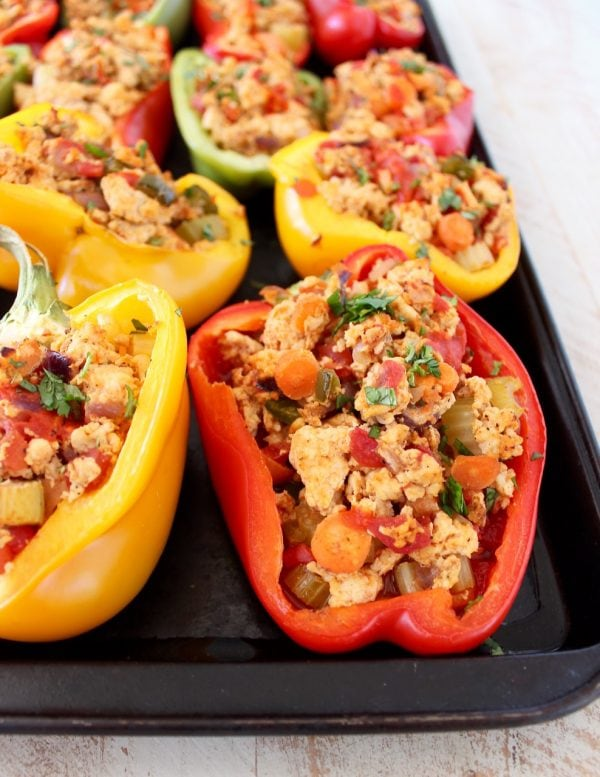 Ground buffalo chicken and carrots stuffed in bell peppers