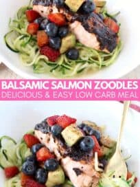 Balsamic glazed salmon in bowl with zucchini noodles and berry avocado salsa
