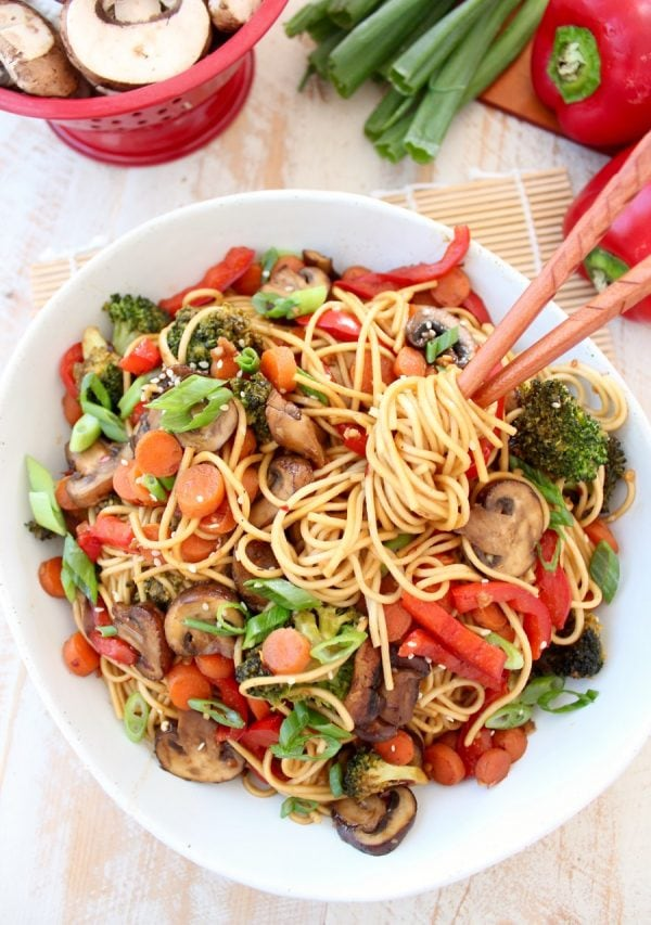 Chinese Noodles and General Tso Sauce