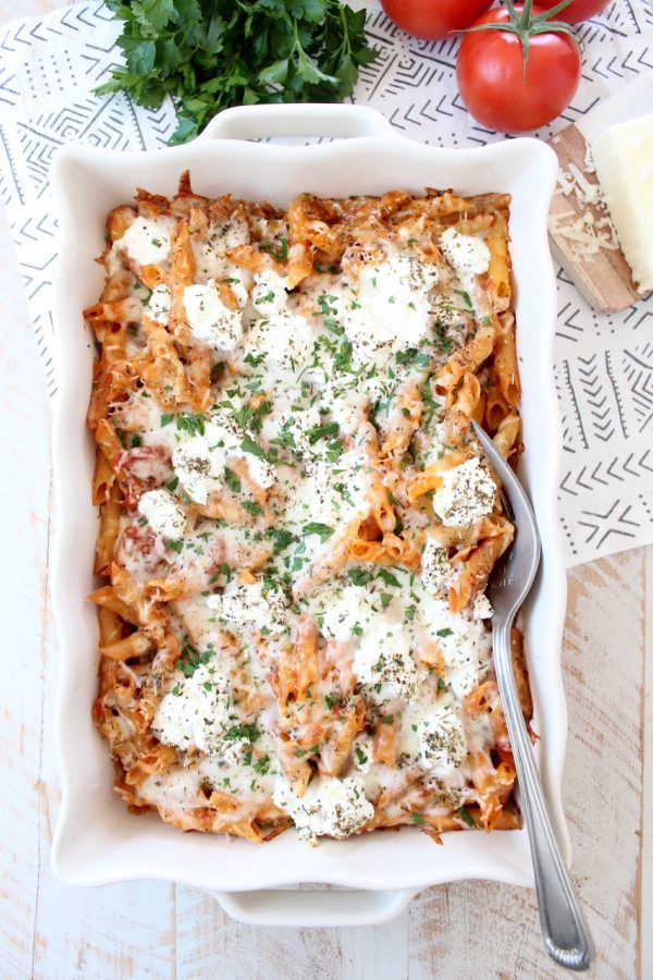 Three cheese baked ziti with ricotta, mozzarella and parmesan is an easy 6 ingredient, 29 minute meal that is sure to become a weeknight dinner family favorite!