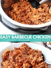 shredded bbq chicken in an instant pot and in a bowl