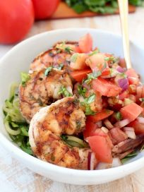 Grilled Shrimp Bruschetta Zucchini Noodle Bowl