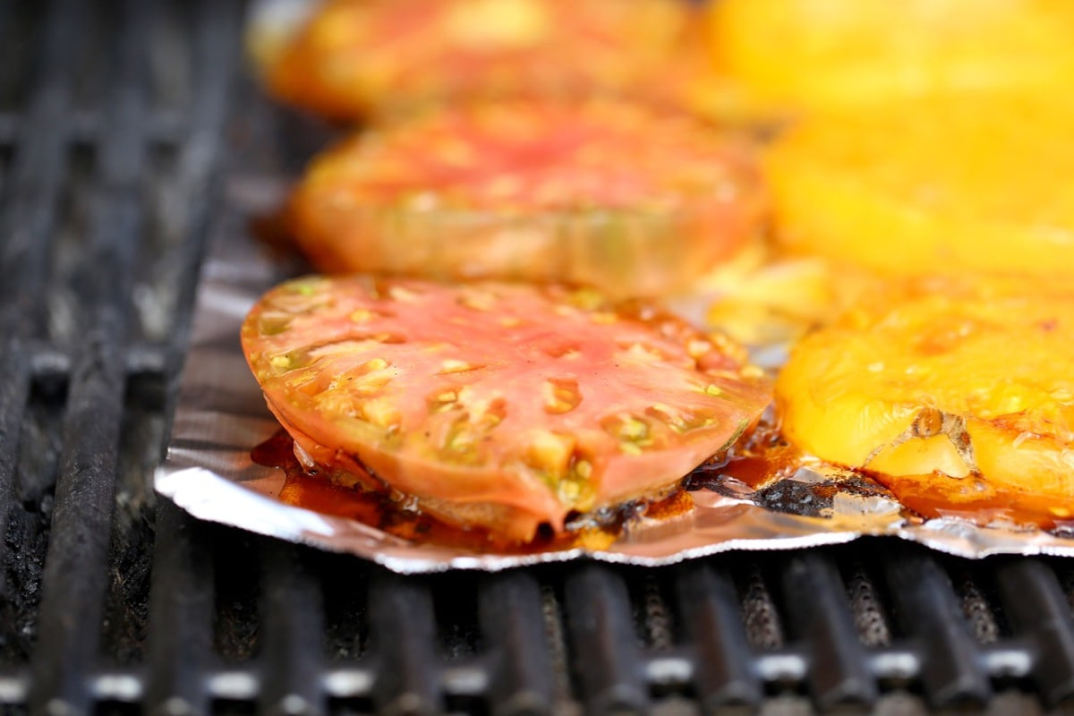 Grilled Heirloom Tomatoes on Non Stick Foil