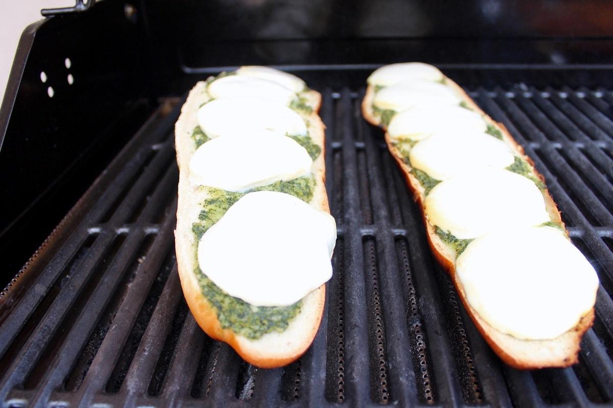 Grilled French Bread Pizza with Basil Pesto and Mozzarella