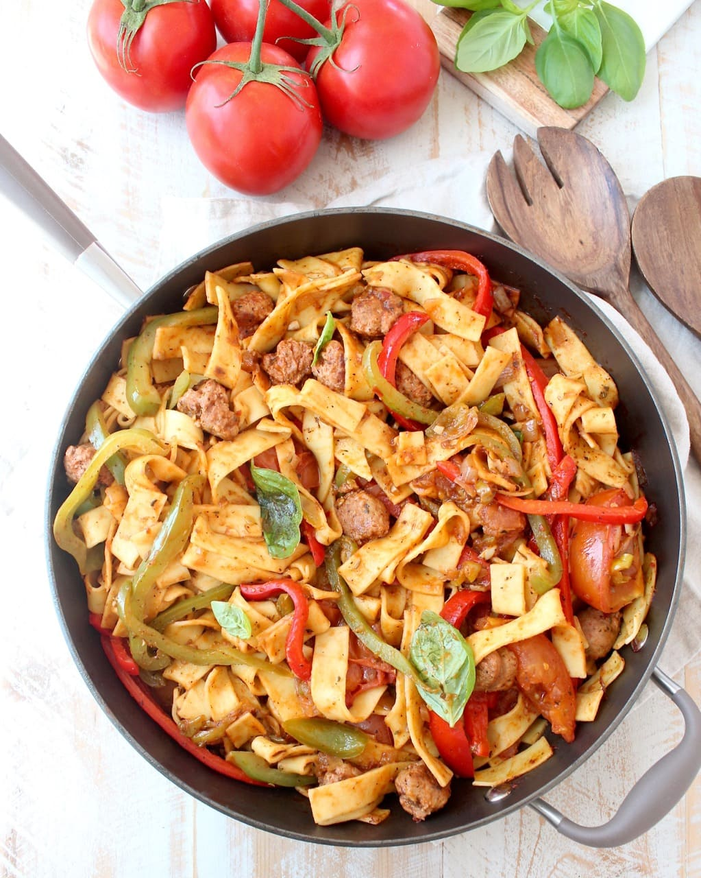 Italian Drunken Noodles Recipe in Skillet