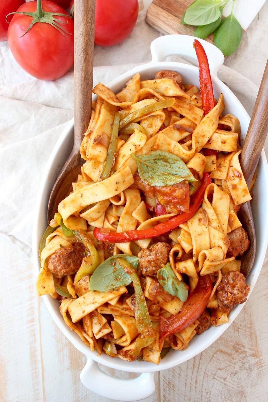 Italian Drunken Noodles in Serving Dish