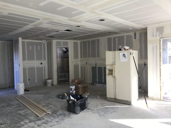 Drywall mudding in kitchen