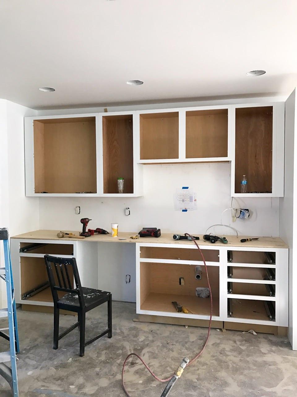Installation of new kitchen cabinets