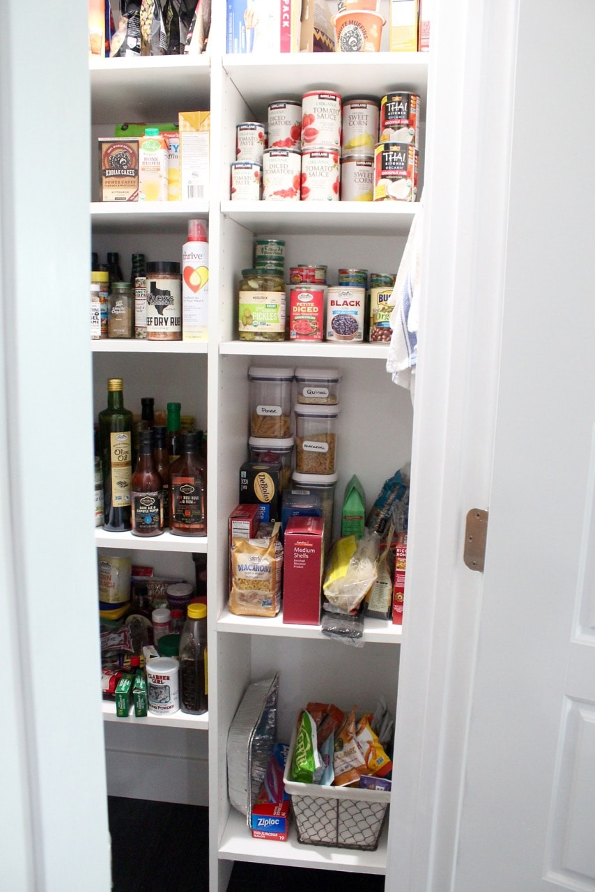 Kitchen pantry organization for pasta, canned goods and snacks