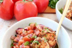 Bruschetta Shrimp Zoodle Bowls Image with Text Overlay