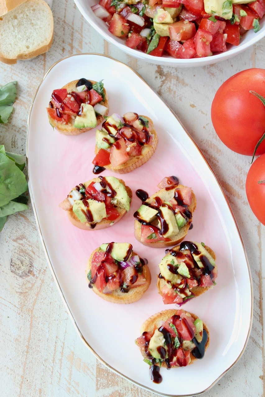 Easy Avocado Tomato Basil Bruschetta with Balsamic Reduction