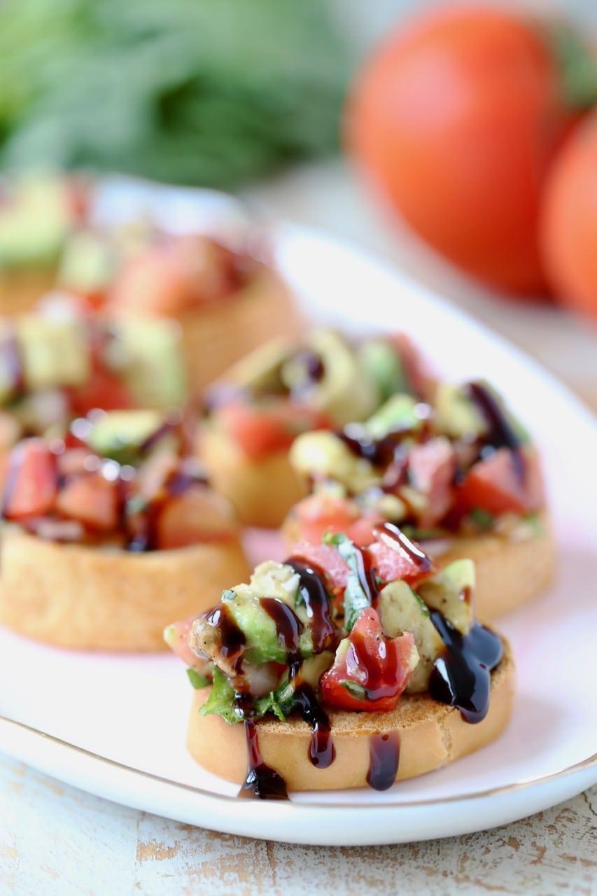 Avocado Tomato Bruschetta with Balsamic Reduction