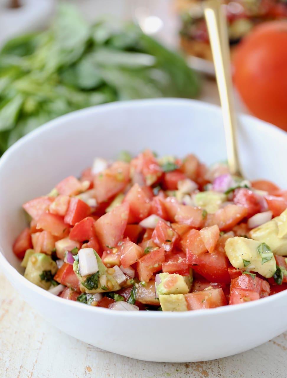 Tomato Avocado Garlic Basil Vegan Bruschetta Recipe