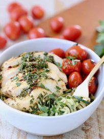 Zucchini Noodles in Gold Fork with Grilled Chimichurri Chicken and Roasted Cherry Tomatoes