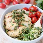 Zoodles, Chimichurri Chicken and Tomatoes