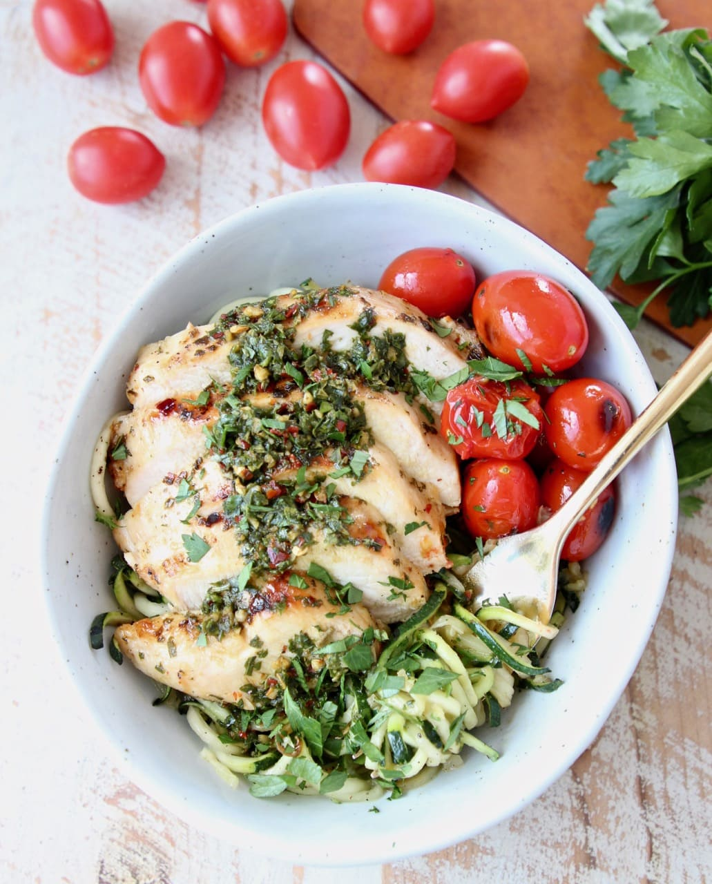 Zucchini Noodles with Grilled Chimichurri Chicken and Cherry Tomatoes