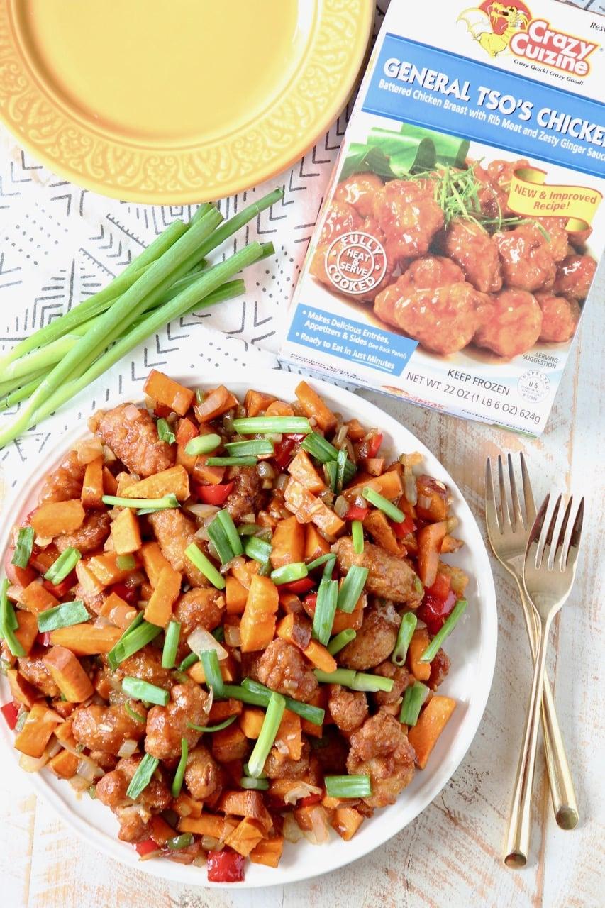 General Tso's Sweet Potato Hash with Crazy Cuizine General Tso's Chicken