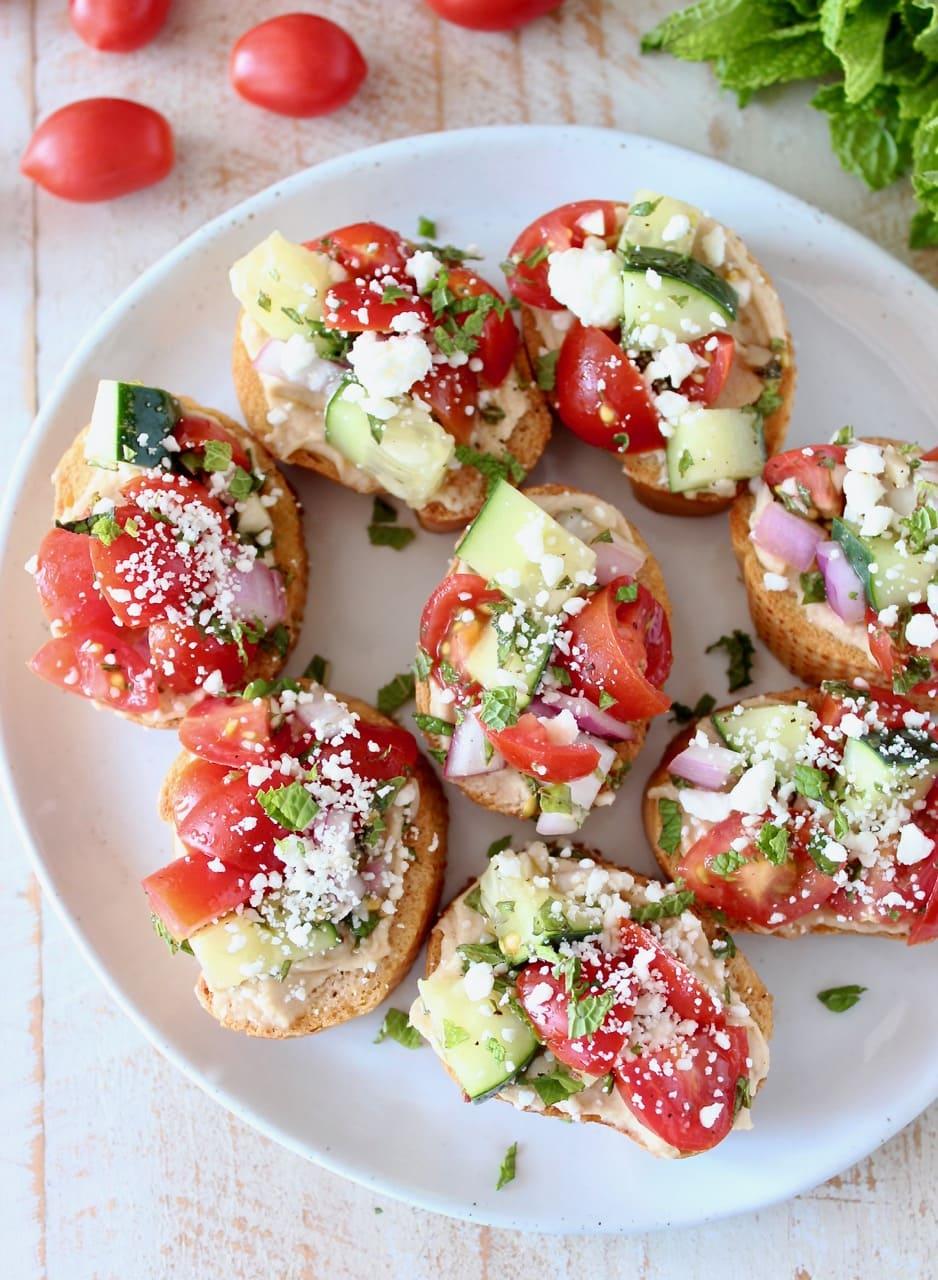 Tomato Cucumber Bruschetta with Feta