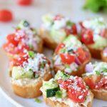 Greek Bruschetta with Tomatoes, Cucumber, Hummus and Feta