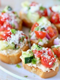 Greek Tomato Cucumber Bruschetta with Feta Cheese