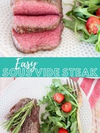 Image of sliced steak on plate with salad, with text overlay