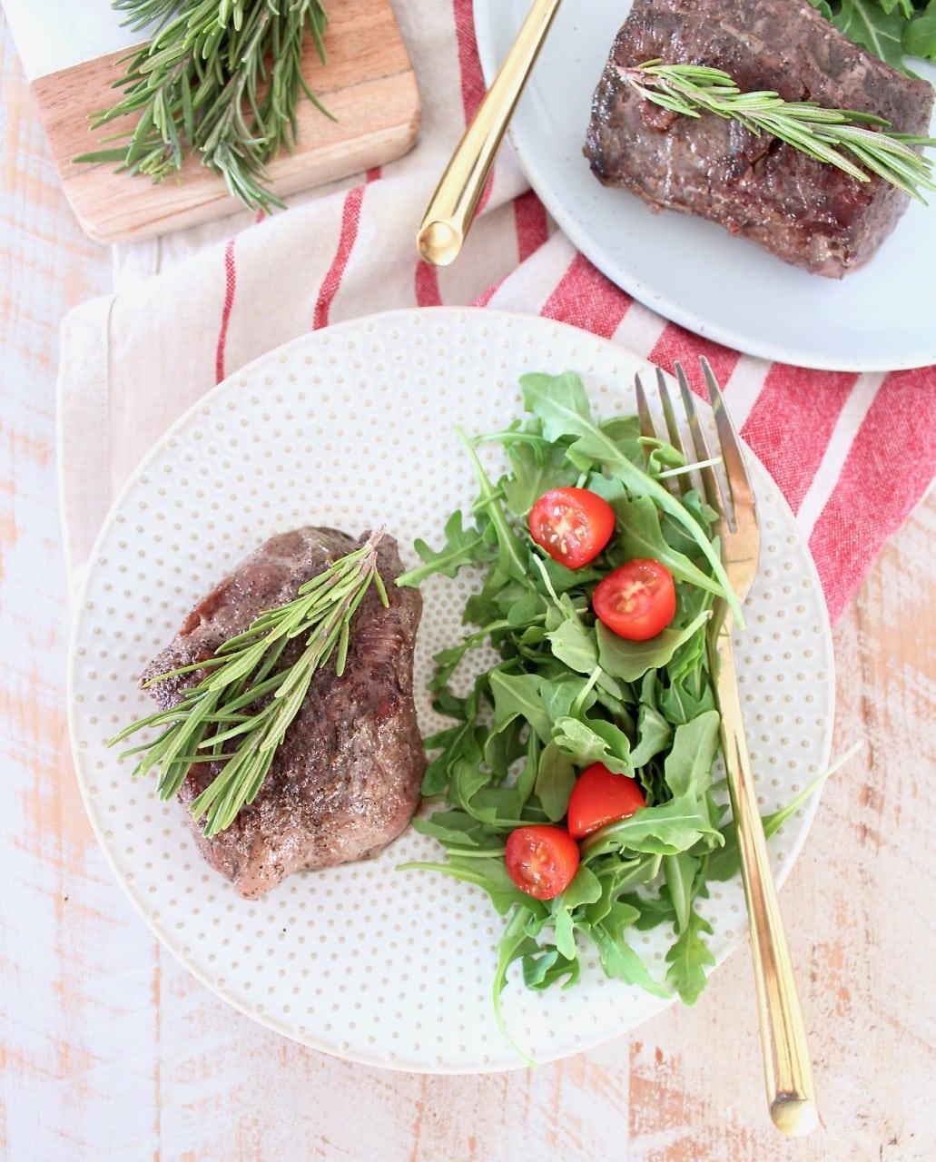 Rosemary Garlic Sous Vide Steak Recipe with Arugula Tomato Side Salad